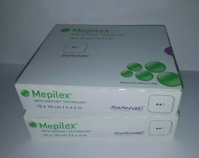 2 Boxes of Mepilex 4x4 Foam Bandages, Brand New, Sealed, 5 bandages in each box.