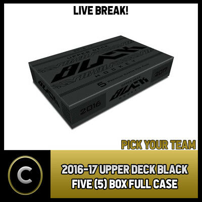 2016-17 Upper Deck Black 5 Box Full Case Break #h325 - Pick Your Team -