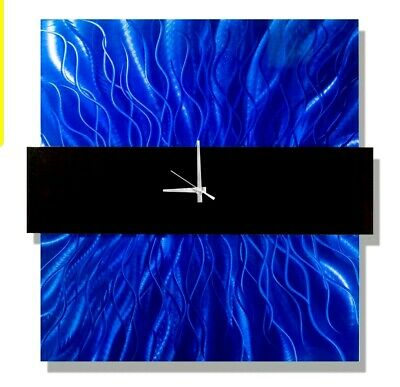 Statements2000 Metal Wall Clock Art Modern Blue Painting Decor Hanging Jon Allen
