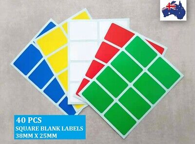40 Pcs Rectangle Square Blank Assorted Colour Code Stickers Label 38 mm x 25 mm