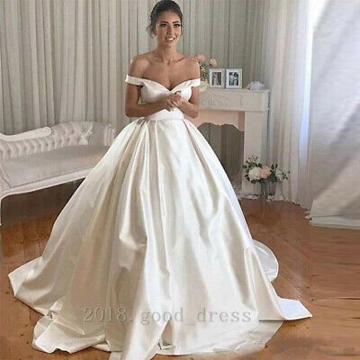 ELEGANT OFF THE shoulder Satin Wedding Dresses Plus Size Simple Bridal Gown