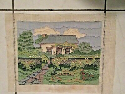 Craft Hand Made Long Stitch Completed & Framed Country Cottage