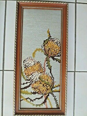 Craft Hand Made Tapestry Completed & Framed Australian Banksia Flower