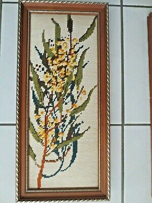 Craft Hand Made Tapestry Completed & Framed Australian Wattle Wild Flower