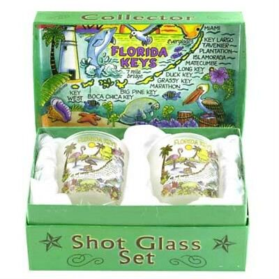 Florida Keys Map Boxed Shot Glass Set (Set Of 2)