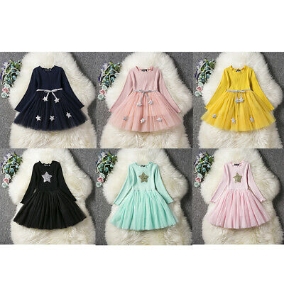 Toddler Girls Embroidered Long Sleeve Party Pageants Wedding Princess Tutu Dress