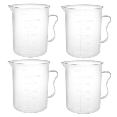 4pcs Laboratory Clear PP Plastic Graduated 250mL Measuring Cup Handled Beaker