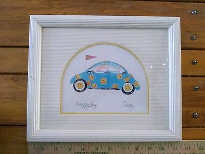 Volkswagon Beetle VW Bug White Frame w/ Glass Print Happy Bug Anne Ormsby 11 x 9