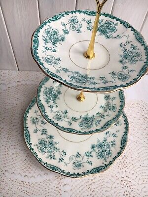 Vintage 3-tier Cake Stand Green Floral Afternoon Tea Yellow Mothers Day Wedding