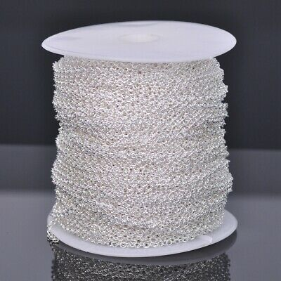 100m 4x3mm Silver Plated Solid Link Oval Cable Chain DIY Jewelry Making Necklace