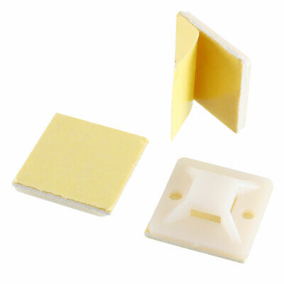 60pcs Self Adhesive Cable Tie Mounts Wire Base Holders 19mm x 19mm Yellow