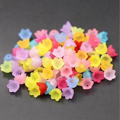 DIY 200pcs Mixed Flower Frosted Acrylic Spacer Beads Caps Jewelry Accessorie 9mm