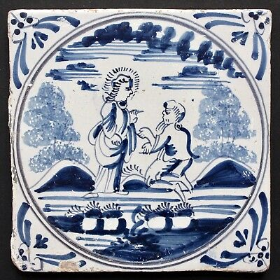 "Antique 18th c. Dutch Delftware Bible Tile ""The Faith of the Centurion"", Ox-head"