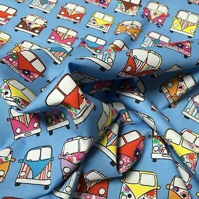 NEW IN !! Rose & Hubble 100% Cotton Poplin Camper Van in Lines Fabric