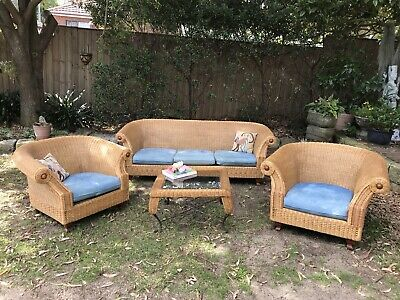 Garry Masters 4pce Cane Rattan Lounge Suite~Chair~Indoors/Outdoors+Coffee Table