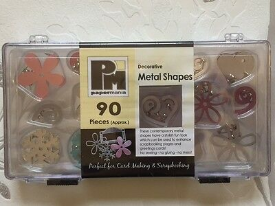 NEW SEALED PAPERMANIA 90x METAL SHAPES BRADS SNOWFLAKES, SWIRLS, HEARTS, FLOWERS