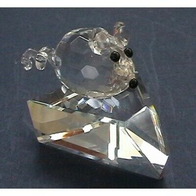 Crystal World  Cut Glass Mouse on Cheese Ornament - Stunning Figurine