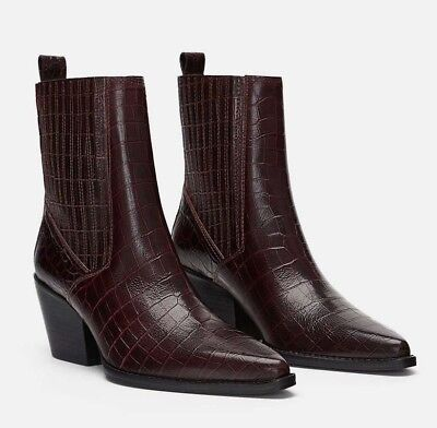 3a6d6685ce8 ZARA WOMAN NWT 2019 Mock Croc Print Leather Ankle Boots Shoes Ref ...
