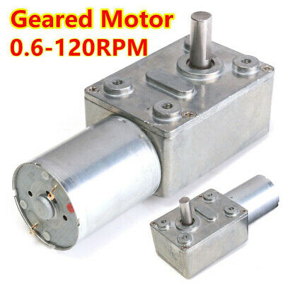 0.6RPM-120RPM Reversible High Torque Turbo Worm Geared Motor DC 12V Reduction