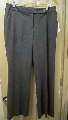 """New Sz 10 Calvin Klein Classic Fit Womens Lined Gray Pants, 33"""" Inseam, Nwts"""