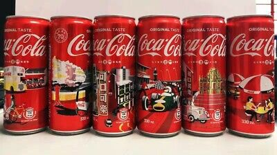 New China 2019 Coca  Cola Macao 70th city can of 6 empty 330ml