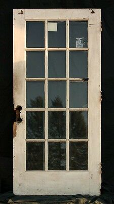 "36""x83"" Antique Oak Exterior Entry French Door 15 Window Beveled Glass Lite Pane"
