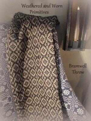 """Primitive Colonial Reproduction Pattern Woven Black & Tan Throw 52"""" x 74"""""""