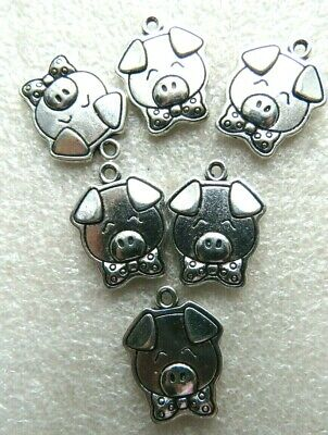10 Cute Pig Piglet Charms. Tibetan  SP.  Gift, Crafts Jewellery Making