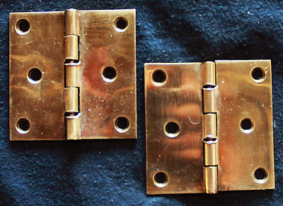 "Pair Antique 3""x3"" SOLID Cast Brass Flat 5 Knuckle Cabinet Interior Door Hinges"