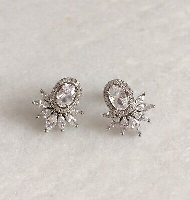925 Sterling Silver Cubic Zirconia Art Deco Vintage Style Halo Bridal Earrings
