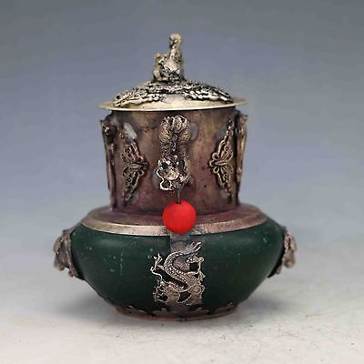 Old Chinese Green Jade Inlaid Tibetan Silver&Buddha Lid Incense Burner