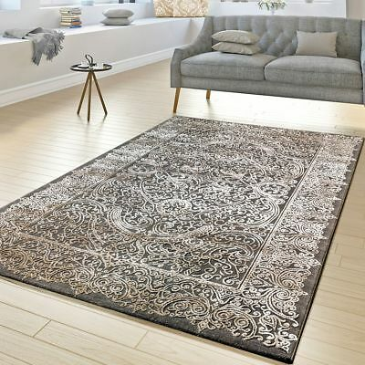 Traditional Rug Oriental 3D Design Carpet Living Room Small Large Mats Grey Gold