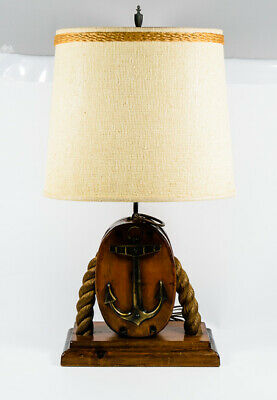 Vintage Wooden Anchor Pulley Rope Nautical Ship Cabin Coastal Table Light Lamp