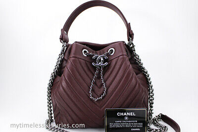 cc4d28c03ee0 BNIB 2018 100%AUTH CHANEL Quilted Navy Caviar Leather Drawstring ...