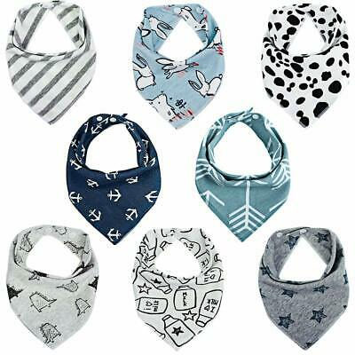 Baby Bandana Dribble Bibs Drool Bibs for Boys Unisex (Pack of 8) - Super Absorbe