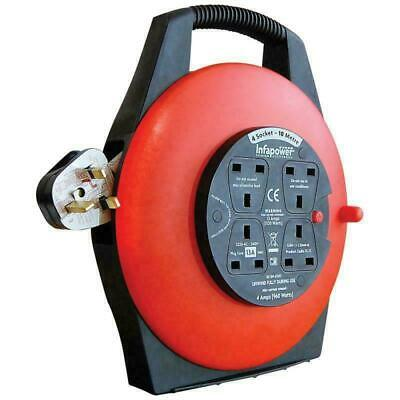 PIFCO 10 M & 4 Way 13 AMP Electric Extension Cable Reel Mains Plug & Socket Lead