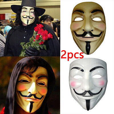 2019 1/2x  V For Vendetta Mask Guy Fawkes Anonymous Halloween Mask Fancy Costume