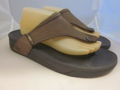 064d4f358387 FitFlop Womens Suede Micro Wobble Board Thong Sandals Flip Flop Brown Sz 11