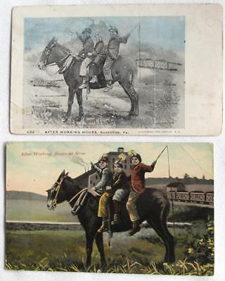 Lot of 2 Vintage Postcards AFTER WORKING HOURS AT MINE Mining #135-a