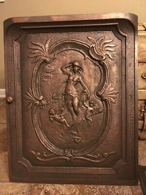 Antique Original Cast Iron Fireplace Cover With Dutch Harbor Maiden And Cherubs