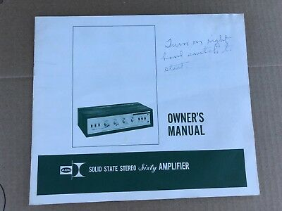 VINTAGE 1960's ADC 60 SIXTY STEREO AMPLIFIER OWNERS MANUAL HI-FI STEREO SPEAKER