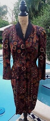 "Vintage 80's Size 12 Petite Brown/Black Paisley Long Sleeve ""Power"" Dress"