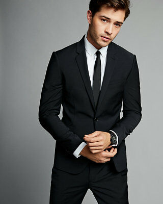NEW Express 2 PC Extra Slim Black Performance Stretch Wool-Blend Suit 40R ,36x32
