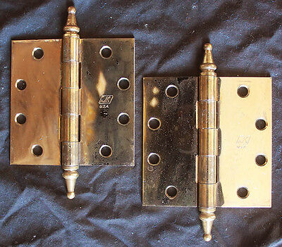 "2 Pair avail Vintage 4.5""x4.5 Brass Steel Steeple Tip Finial Exterior Door Hinge"