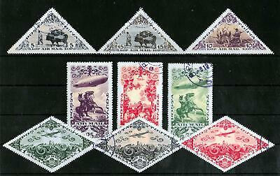 TUVA RUSSIA 1936 Used Airmail Complete Set of 9 Michel #98-106 VF