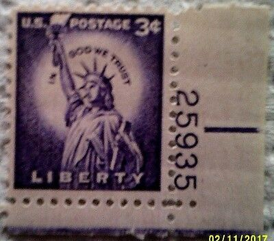 1954 Scott 1035 U. S. Statue of Liberty one new 3 cent stamp at face value