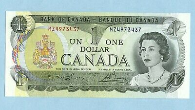 $1 Dollar Paper Bank note 1973 Bank of  Canada Uncirculated Bc-46a 2 letters