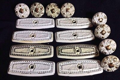 Backplate & Knob Vintage AMEROCK Mid-Century WHITE & GOLD RETRO Lot Of 8