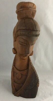 """Vintage Detailed Hand Carved 15"""" Wood Statue Bust Oriental Woman"""