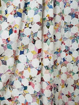 CRAZY BEAUTIFUL! Excellent Vintage 30s Tiny Stars QUILT TOP 85x85 Queen Size